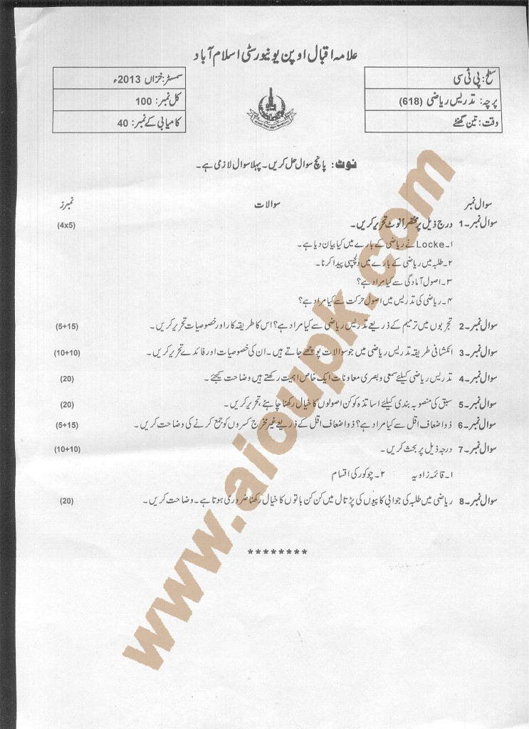 Teaching of Mathematics  code 618 AIOU Old papers 2015