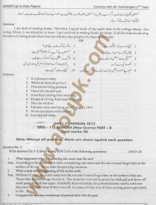 ENG 112 Solved paper English DAE course