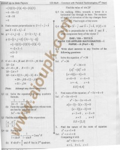 DAE Mathematics 123 with solution