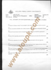 AIOU old paper Code 8502 Human Resource Management 2014