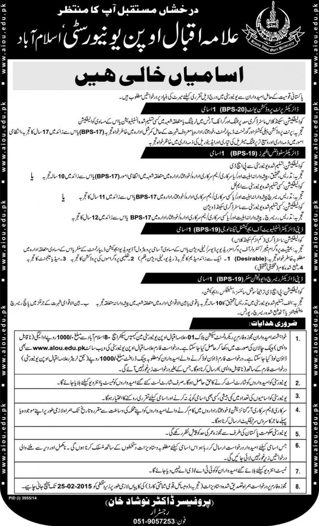 Allama Iqbal Open University AIOU Jobs 2015