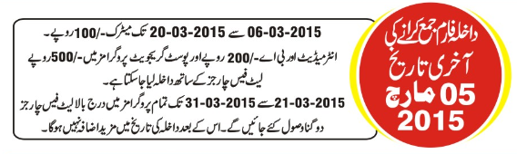 Allama Iqbal Open Open University admission 2015