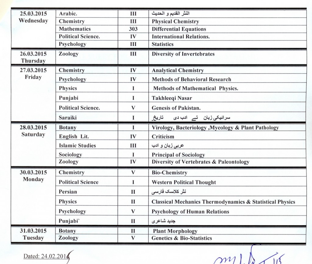 BZU Bahauddin Zakariya University MA MSc Date Sheet 2015 download